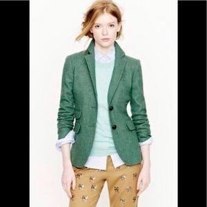 J. Crew Green herringbone wool blazer